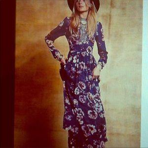 Free People blue Paradise floral maxi dress 2 Rare